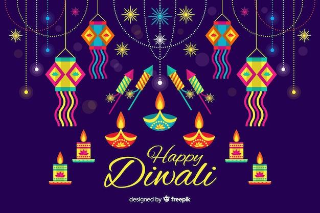 Conceito de diwali com fundo design plano Vetor grátis