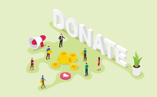 Conceito de doação com as pessoas da equipe dar dinheiro ou compartilhar com estilo isométrico moderno Vetor Premium