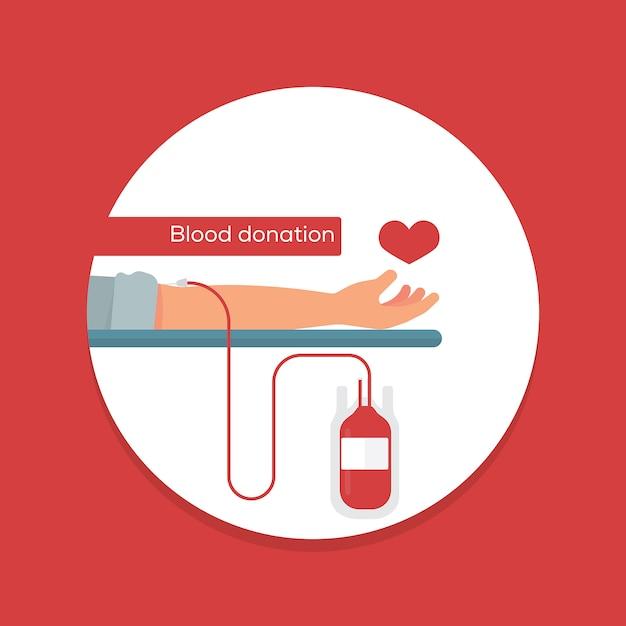 Conceito de doação de sangue Vetor Premium