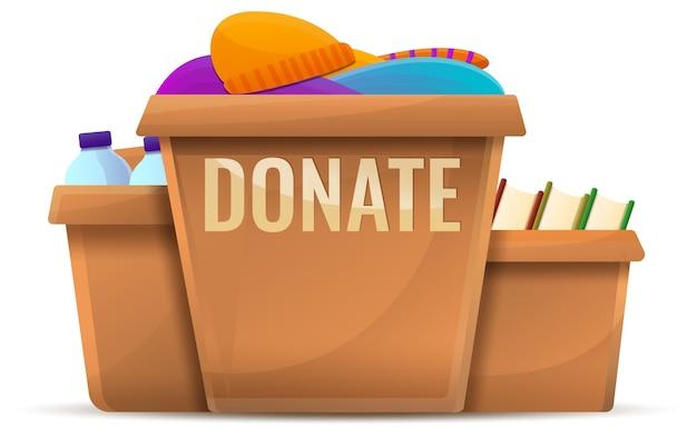 Conceito de doações de caixa, estilo cartoon Vetor Premium