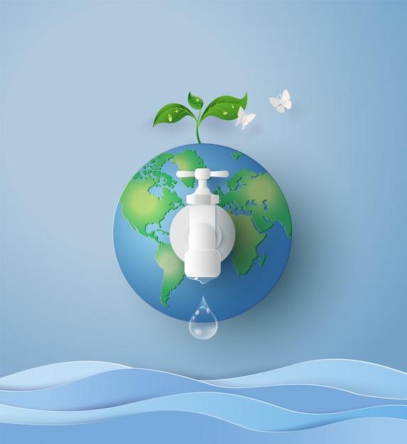 Conceito de eco e dia de água wolrd Vetor Premium