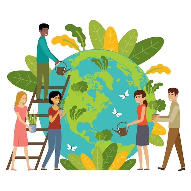 Conceito de ecologia. as pessoas se preocupam com o planeta. proteger a natureza. dia da terra. globo com plantas e pessoas voluntárias Vetor Premium