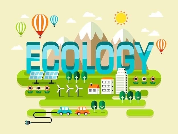 Conceito de ecologia, belas paisagens com estilo Vetor Premium