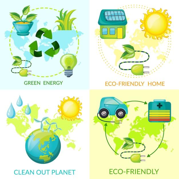 Conceito de ecologia de desenho animado Vetor grátis