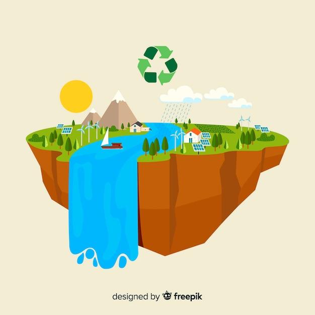 Conceito de ecologia design plano com elementos naturais Vetor grátis