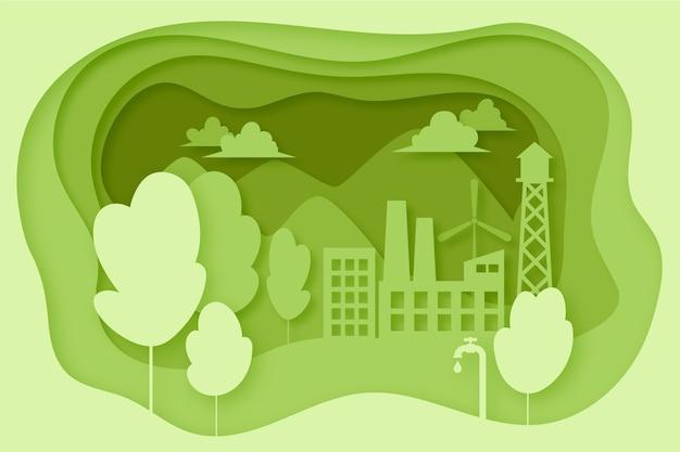 Conceito de ecologia em estilo de jornal com árvores e edifícios Vetor grátis