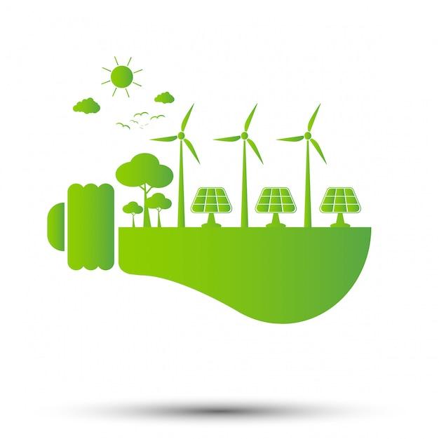 Conceito de ecologia, o mundo está na economia de energia lâmpada verde, ilustração vetorial Vetor Premium