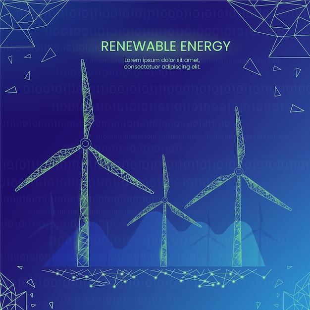 Conceito de ecologia tecnológica com energia eólica Vetor grátis