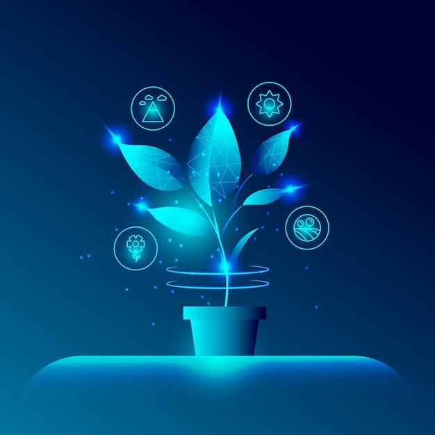 Conceito de ecologia tecnológica com planta Vetor grátis