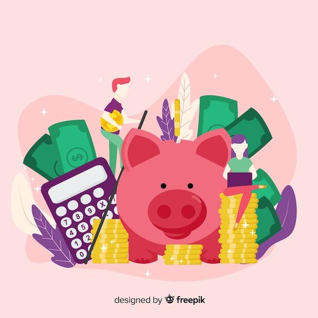 Conceito de economia de dinheiro colorido Vetor grátis
