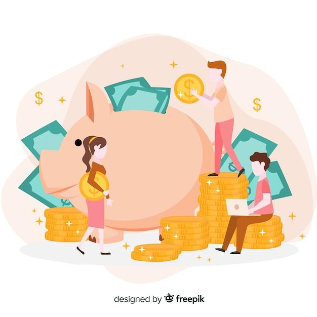 Conceito de economia de dinheiro em design plano Vetor grátis