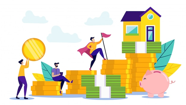 Conceito de economia de dinheiro para comprar casa Vetor Premium