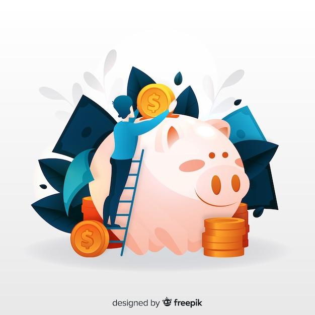 Conceito de economia de dinheiro Vetor grátis