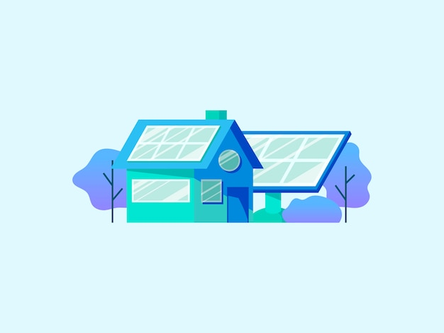 Conceito de economia de energia com painéis solares Vetor grátis