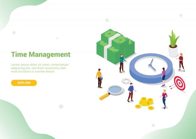 Conceito de economia de gerenciamento de tempo para o site de destino do modelo de site Vetor Premium