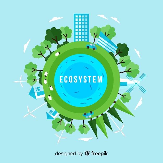 Conceito de ecossistema e natureza em estilo simples Vetor grátis