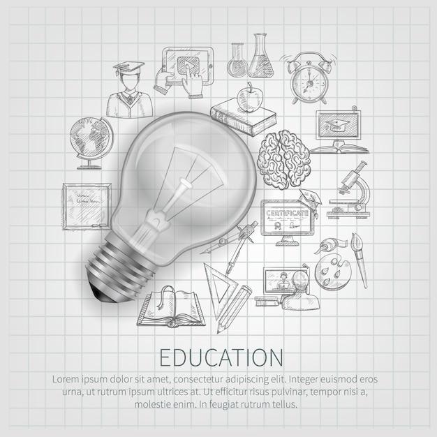 Conceito de educação com a aprendizagem de ícones de esboço e lâmpada realista Vetor grátis