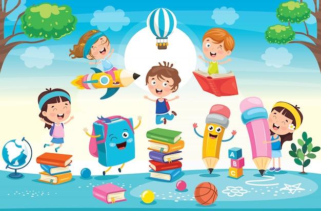 Conceito de educação com crianças engraçadas Vetor Premium