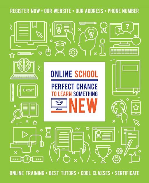 Conceito de educação escolar on-line com legenda no centro e ícones de linha branca Vetor grátis