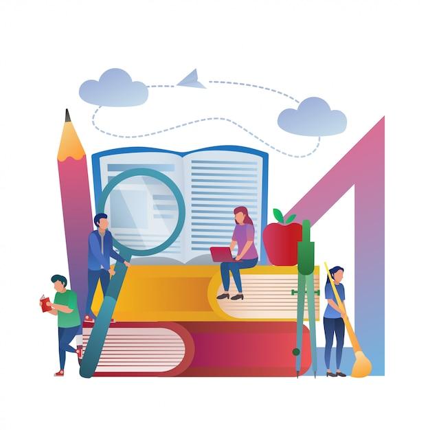 Conceito de educação estudo juntos ilustração Vetor Premium