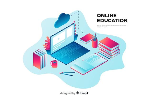 Conceito de educação on-line isométrica Vetor grátis