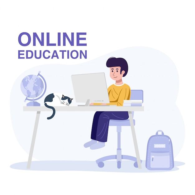 Conceito de educação on-line. um garoto aprendendo com o computador em casa. vetor Vetor Premium