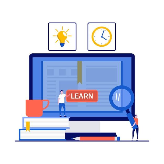 Conceito de educação online, curso a distância, e-learning e biblioteca digital em nuvem com personagens. Vetor Premium