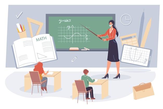 Conceito de educação online offline com vários materiais escolares Vetor Premium
