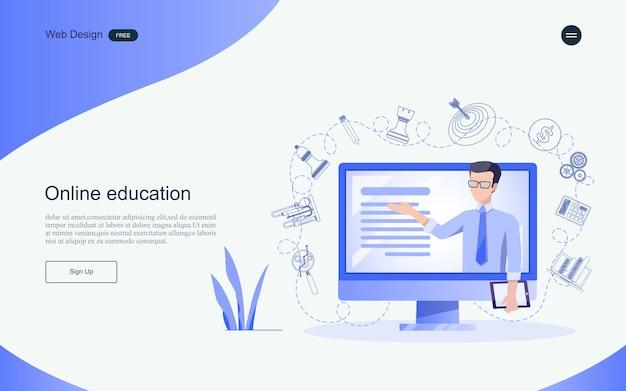 Conceito de educação para aprendizagem on-line, treinamento e cursos. modelo de página de destino. Vetor Premium