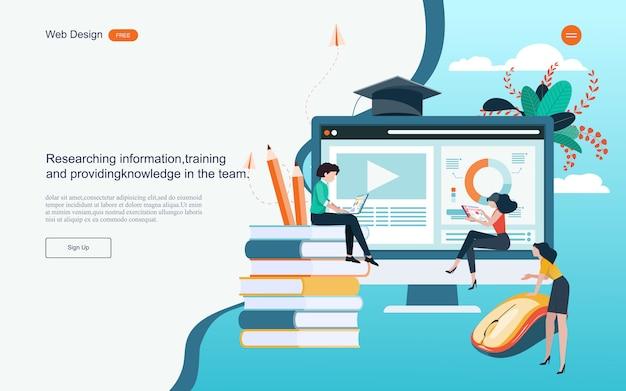 Conceito de educação para aprendizagem on-line, treinamento e cursos. Vetor Premium