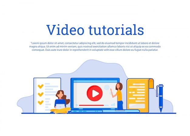Conceito de educação, treinamento on-line, internet estudando, video tutorial. Vetor Premium