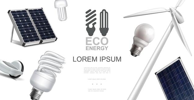 Conceito de elementos de energia ecológica realista com painéis solares de moinho de vento e ilustração de lâmpadas elétricas de economia de energia Vetor grátis