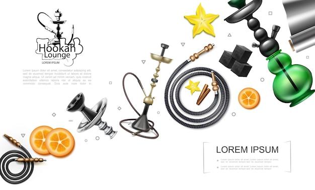 Conceito de elementos de narguilé realista com tubos tubos narguilé fatias de laranja cubos de carvão laminado anis estrelado Vetor grátis