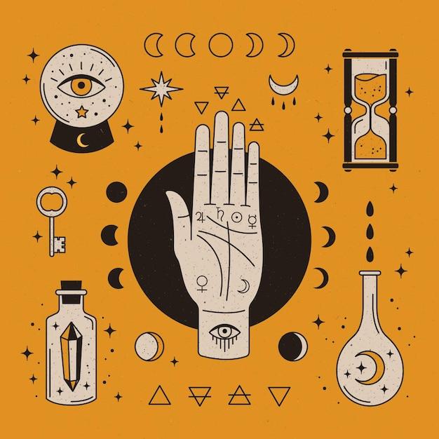 Conceito de elementos esotéricos Vetor grátis