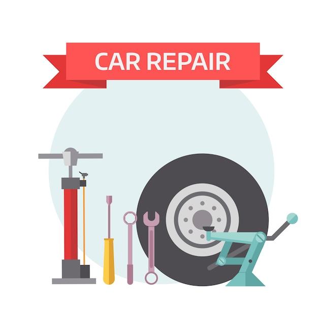 Conceito de elementos mecânicos de serviço de pneu plana. Vetor Premium