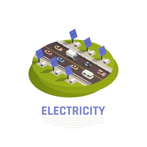 Conceito de eletricidade com carros de baterias solares e auto-estrada isométrica Vetor grátis