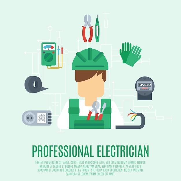 Conceito de eletricista profissional Vetor grátis