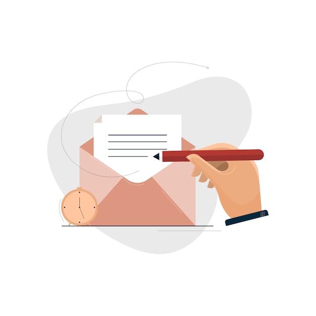 Conceito de email marketing e marketing digital Vetor Premium