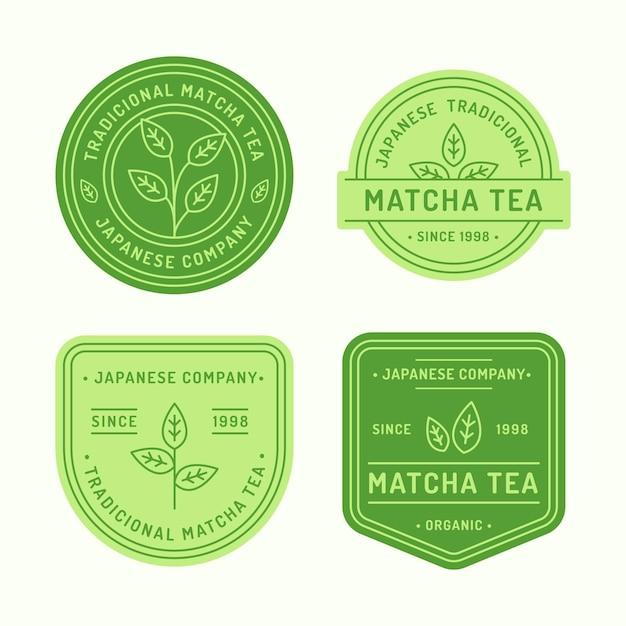 Conceito de emblemas de chá matcha Vetor grátis