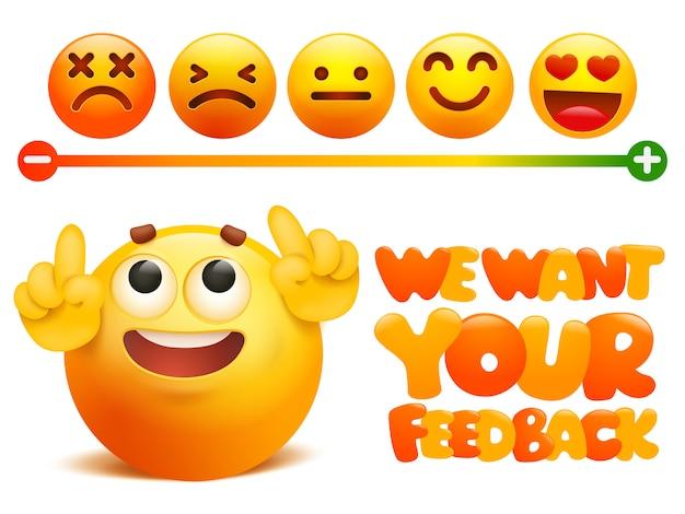 Conceito de emoji feedback. classificação da classificação de satisfação. Vetor Premium