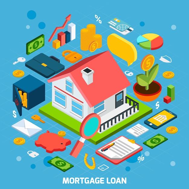 Conceito de empréstimo hipotecário Vetor Premium