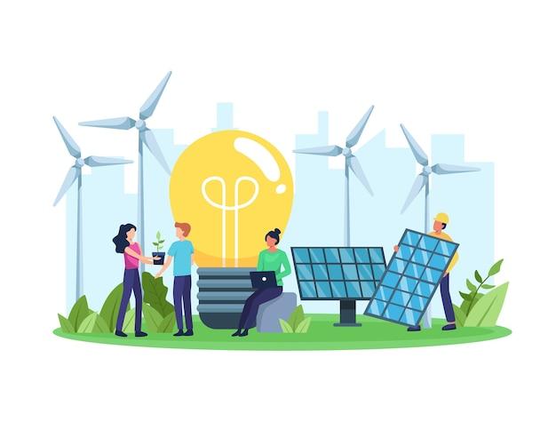 Conceito de energia limpa. energia renovável para um futuro melhor. pessoas com energia amiga do ambiente, painel solar e turbina eólica. em um estilo simples Vetor Premium