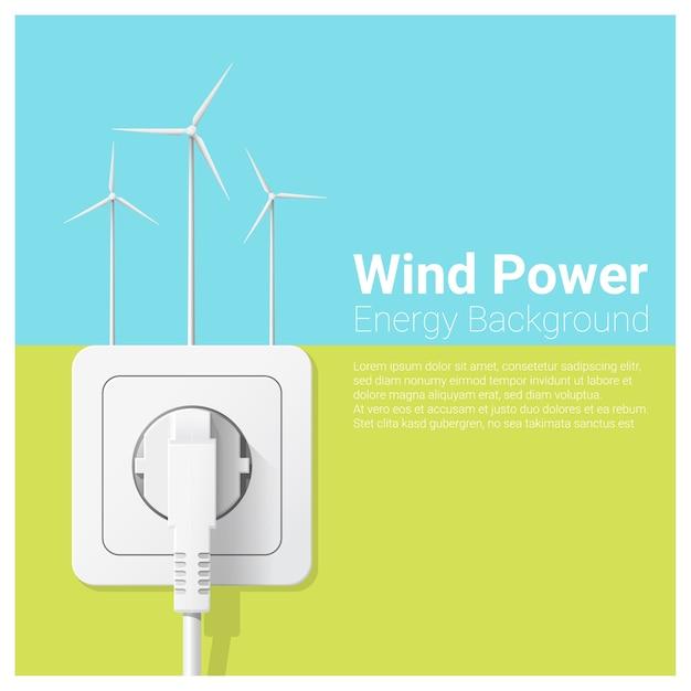 Conceito de energia verde com turbina eólica e tomada elétrica Vetor Premium