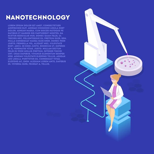 Conceito de engenharia genética e nanotecnologia. experiência de biologia e química. invenção e inovação em medicina. tecnologia futurista. ilustração isométrica Vetor Premium