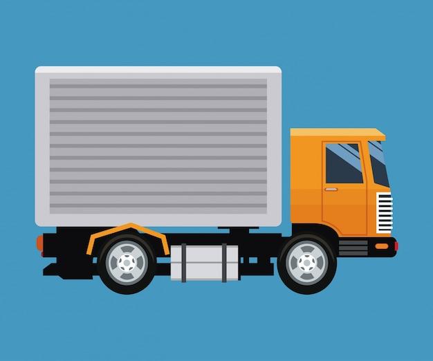 Conceito de entrega caminhão transporte fundo azul Vetor Premium
