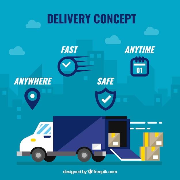 Conceito de entrega com ícones e caminhão Vetor grátis