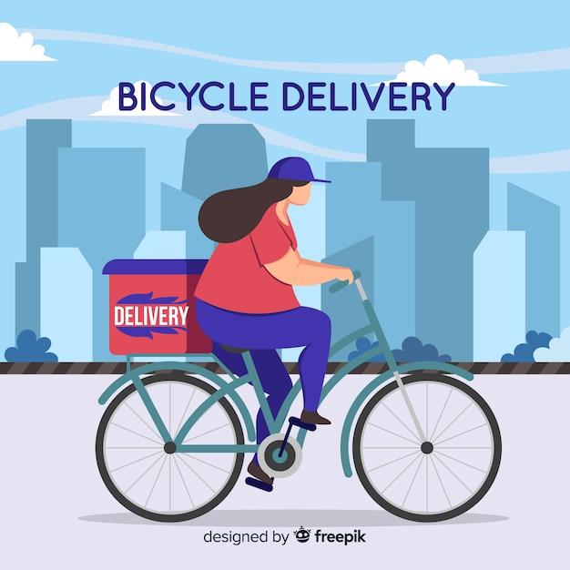 Conceito de entrega de bicicleta em estilo simples Vetor grátis