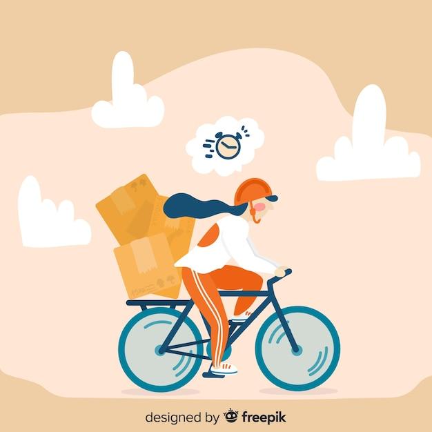 Conceito de entrega de bicicleta na mão desenhada estilo Vetor grátis
