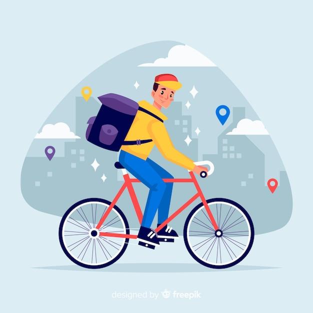 Conceito de entrega de bicicleta plana Vetor grátis