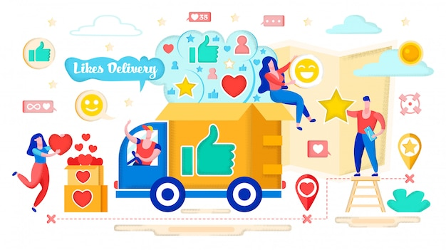 Conceito de entrega de corações, social media marketing. Vetor Premium